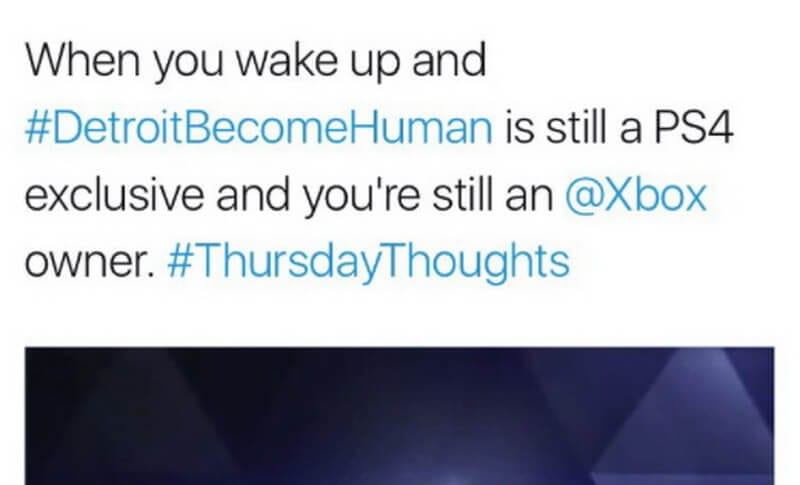 Detroit: Become Human's tweet makes fun of Xbox, gets