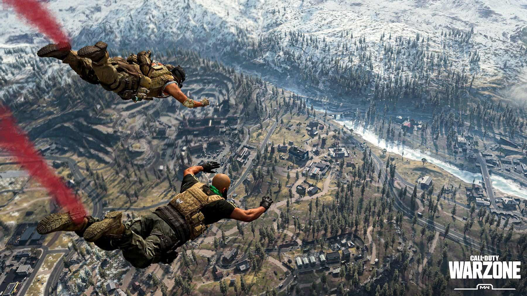 Characters from Call of Duty Warzone dropping from the sky